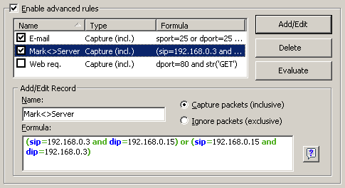 LAN Analyzer and Protocol Decoder - CommView - Advanced Rules