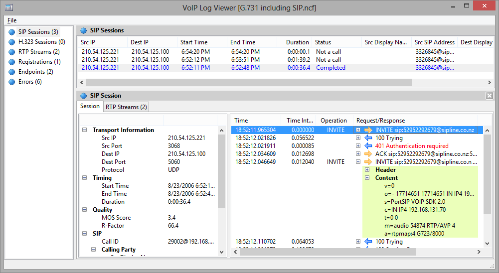WLAN Analyzer and Decoder - CommView for WiFi - SIP and H