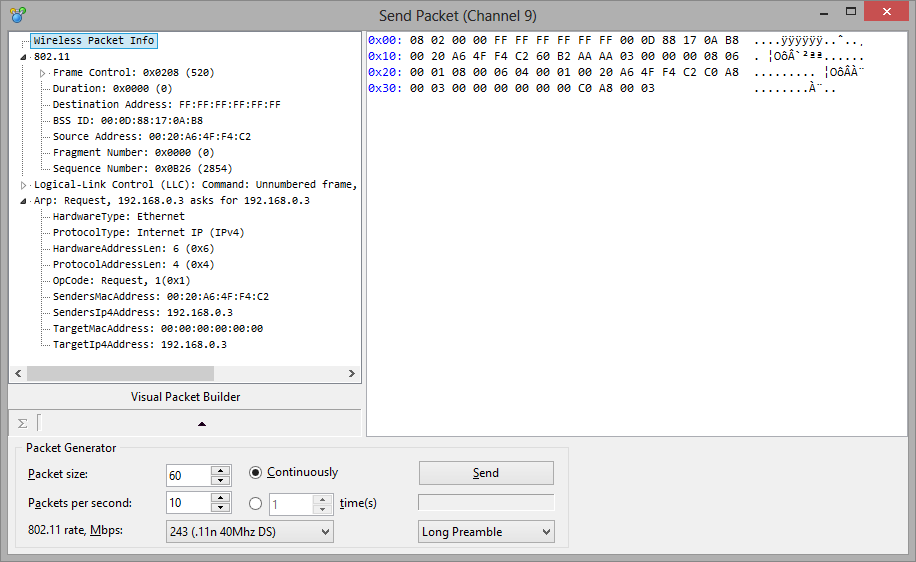 WLAN Analyzer and Decoder - CommView for WiFi - Packet Generator