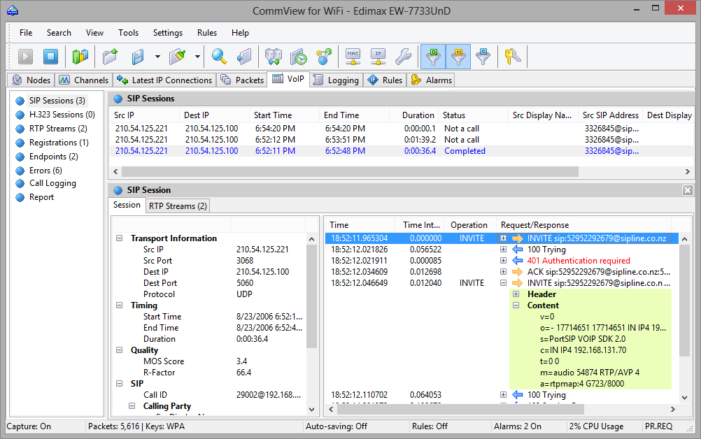 WLAN Analyzer and Decoder - CommView for WiFi - Working with VoIP